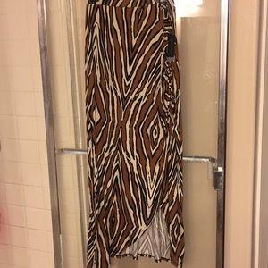 XL tiger print full length skirt,